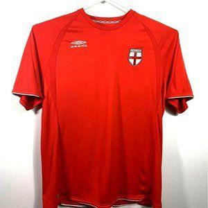 England Umbro Mens Soccer Jersey Shirt Red Short X